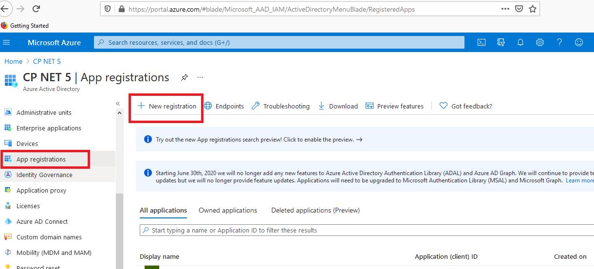 App Register - New Registration