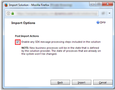 Checkbox to enable