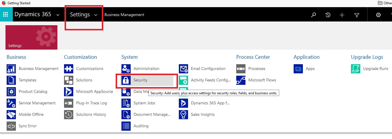 Create Application-Settings-Security