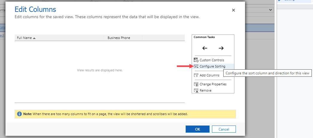 Select Configure Sorting