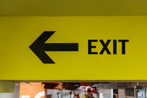Exit sign board Free Photo