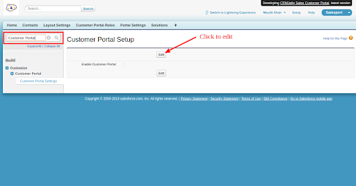 Enable Salesforce customer portal