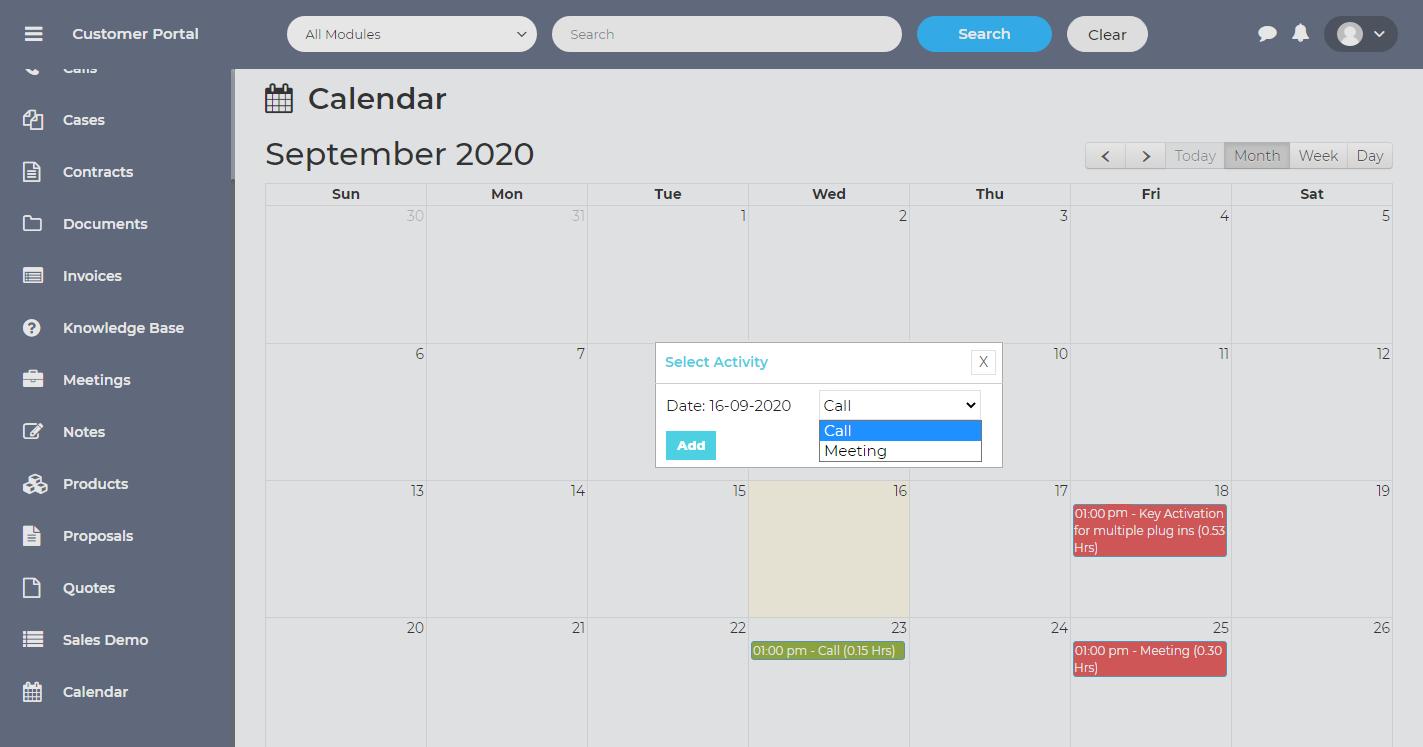 Calendar View for Modules